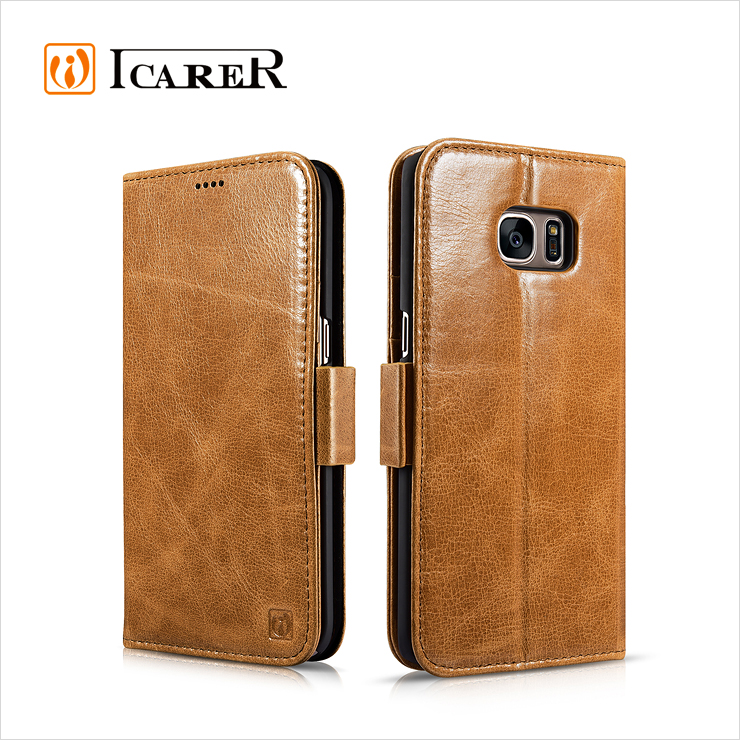 ICARER Folio Real Leather Wallet Case For Samsung Galaxy S7 Edge with stand