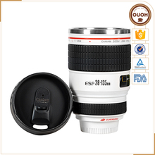 Customised logo 28-135 White Camera Lens Shaped Travel Coffee Mug