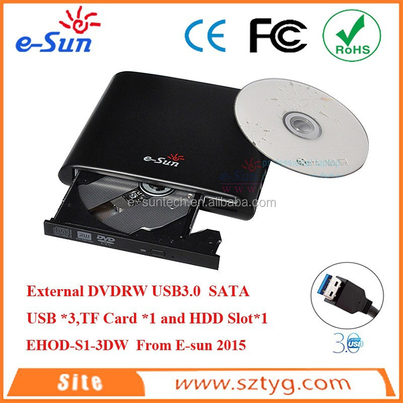 EHOD-S1-3DW SATA to USB 3.0 External DVD ROM Drive,with 2.5 Inch HDD Box Hard Disk Case Slot