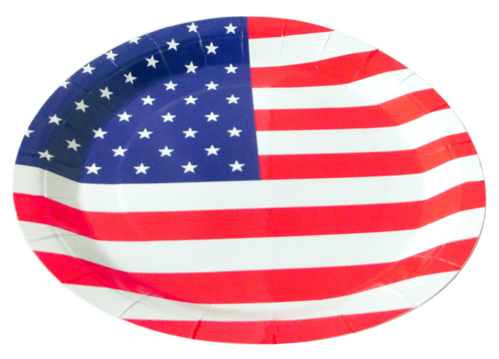 american flag party paper plate /printed dish/national day celebration accessories