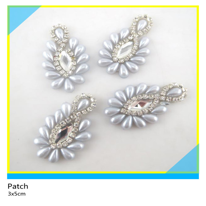Special Design Pearl Mix Glass Stone Rhinestone Patch Applique For Dress 3*5 cm