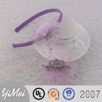 Wholesale Boutique Chic Tulle Flower Plastic Headbands With Crown Baby Hairband