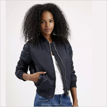 Plain Full Zip Winter Coat Rib Neck Formal Bomber Jacket Women