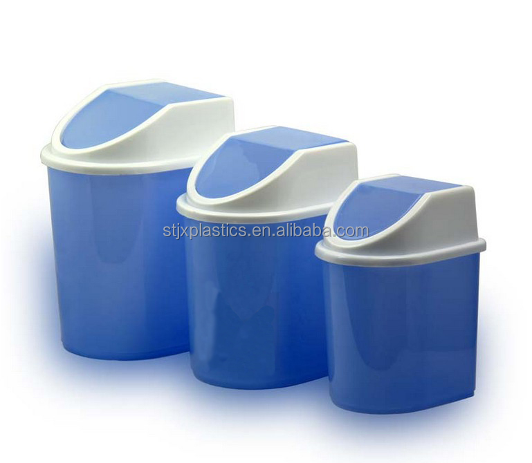 Mini swing lid desktop plastic waste bin at office