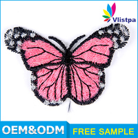 Factory direct wholesale embroidery butterfly patch for dress