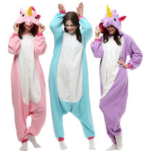 Unisex Adult Pajamas Plush One Piece Cosplay Animal Costume Purple Unicorn Pajamas