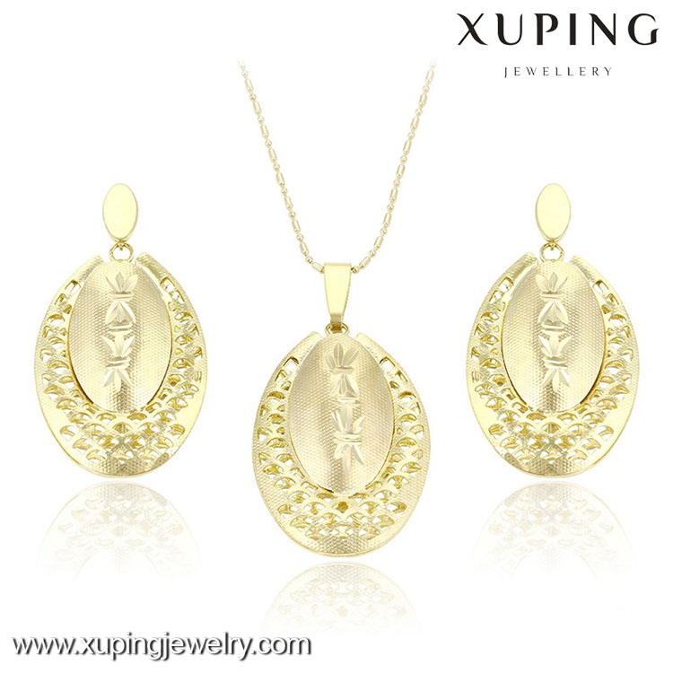 63689 Wholesale Shiny 14k Gold Alloy Plated Hollow Ellipse Jewelry Set