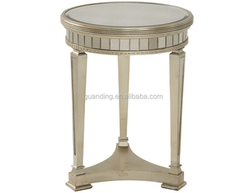 Antique round mirrored side table