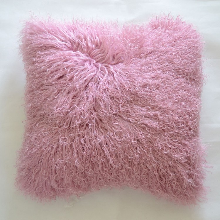 Real Pink Mongolian Lamb Fur Cushion Cover Home Decor From China