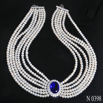 Fashion Jewelry Pearl Factory Supply Natural Freshwater Pearl Necklace With Blue Stone