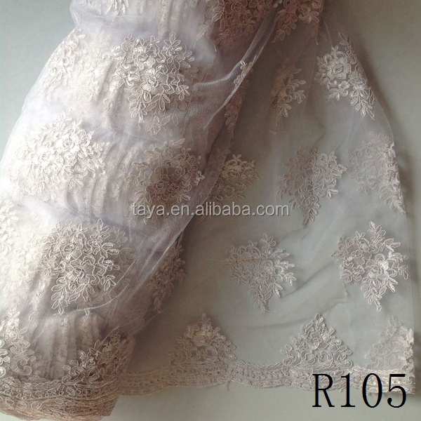 R105 Royal Blue Embroidery Lace Tulle Net Wedding Dress Fabric