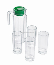 Fashionable 5pcs water glass pithcer with cups set, glass jug with tumblers set