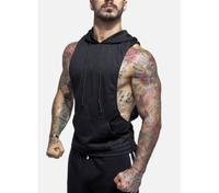 Custom Gym Singlets muscle pollover sleeveless hoodie Black China wholesale