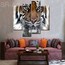 Wholesale Canvas Prints HD Tiger Photo Canvas Prints Wild Animal Canvas Printing Home Decor Wildlife Giclee Artwork 4 Panels