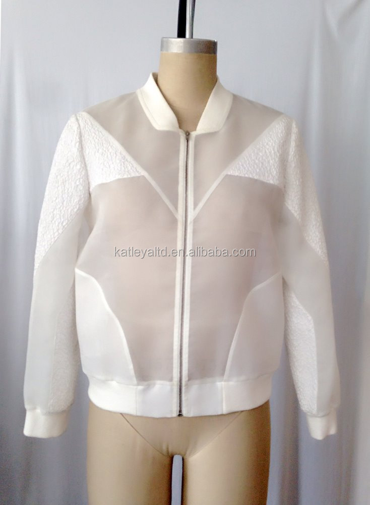ladies long sleeve organza jacket with metal zipper