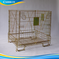 Folding Collapsible Stacking Storage Wire Mesh Cage Container