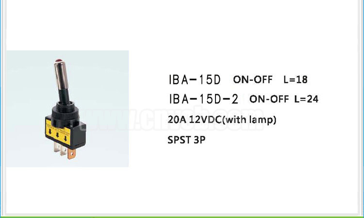 AS21 IBA-15D SPST 3P with Lamp Automotive Switch 20A 12VDC ON-OFF LED illuminated Auto Toggle Switch