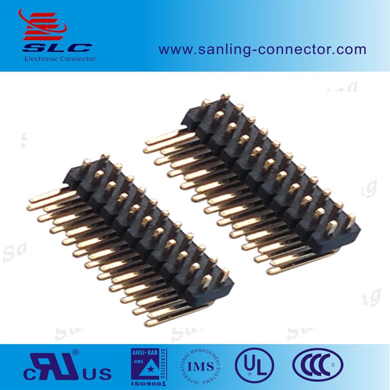 lowest price 1.27mm pin header dual row right angle gold plated pin header