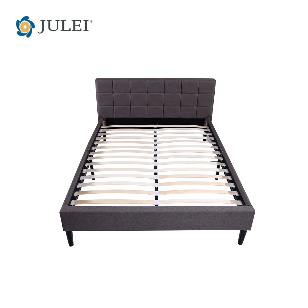 new collection 2017 deluxe upholstery knock down one pack metal wooden slats bed base with headboard DJ-BD03
