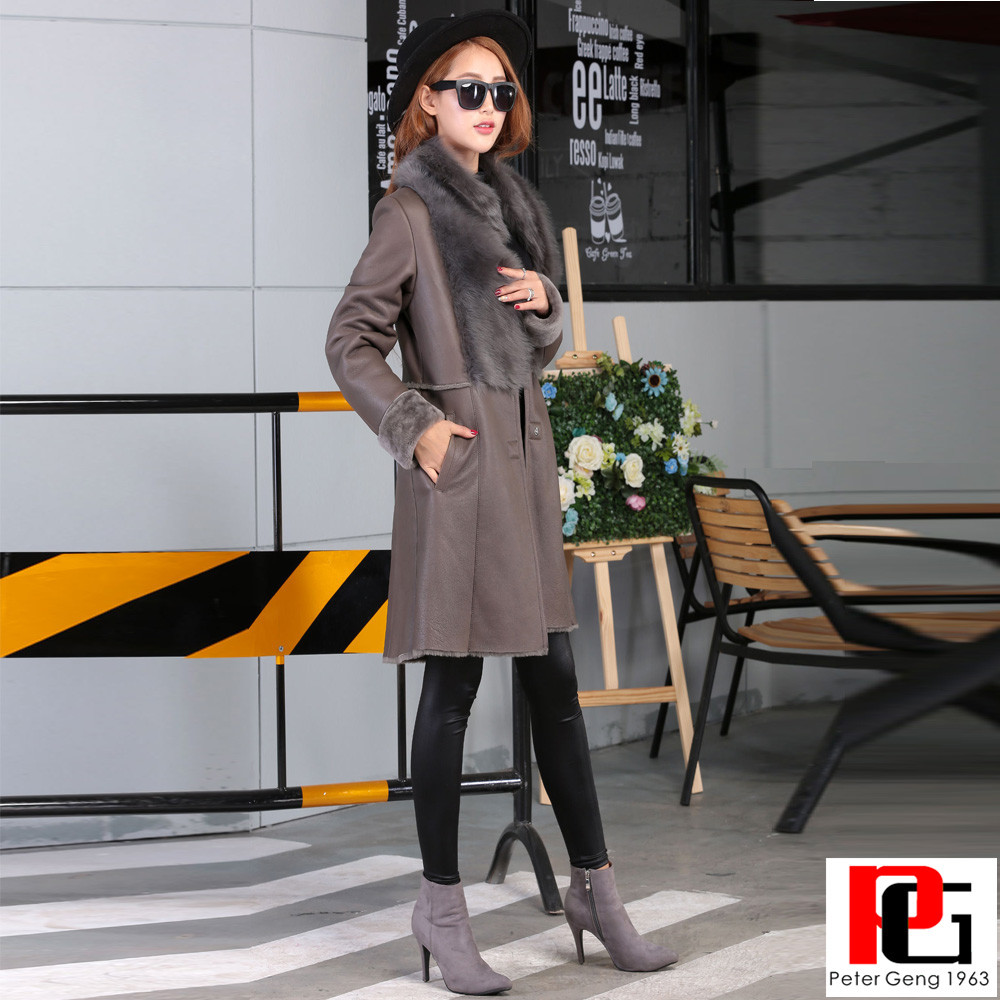 WOMENS WINTER FLASH STYLE DOUBLE FACE MERINOS LAMB SKIN FUR COAT WITH TOSCANAS COLLAR