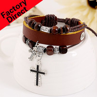 free shipping Bangsheng adjustment alloy cross leather bracelet ornaments multilayer two-color punk Fashion bracelet for unsiex