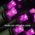 String Lights, 20 Polka Dot LEDs, Green Wire, Battery, PINK
