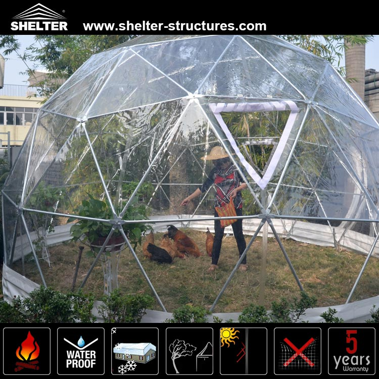 Waterproof white PVC fabric family geodesic dome tent for gathering