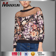 Factory price elegant floral flower print ladies tops from china
