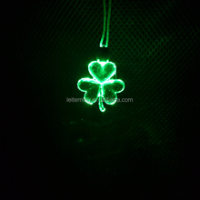 Irish Festival Saint Patricks Day led flashing shamrock necklace