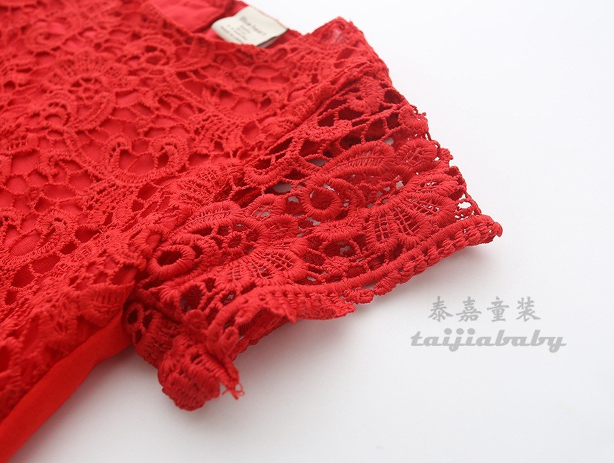 2017 Baby Girl Kids Clothing Girls Lace Elbow Dress Children Casual Loose Dresses Kids Holiday Party Dress Red White Lace