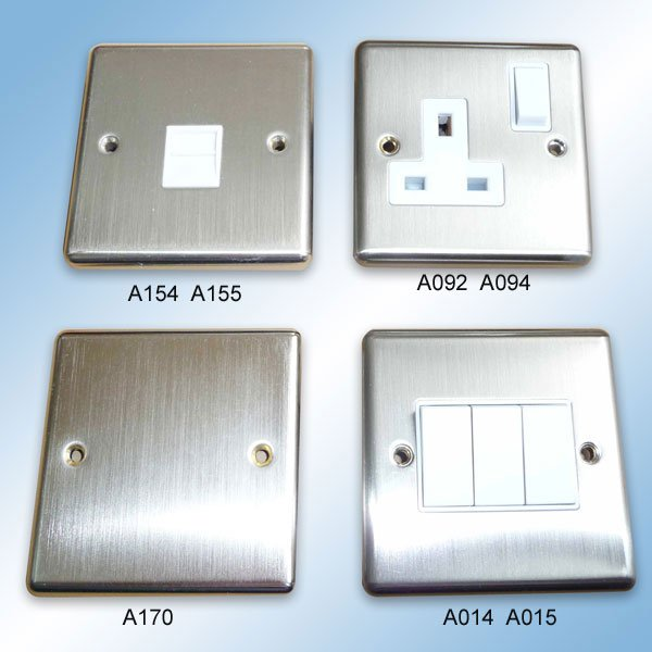 A154 A092 A170 A014 Pressed Stainless Wall Switch and Socket