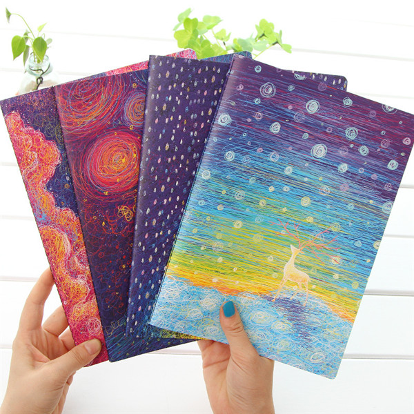 wholesales school stationery abstract pattern cover design 16K daily planner diary fancy notebook