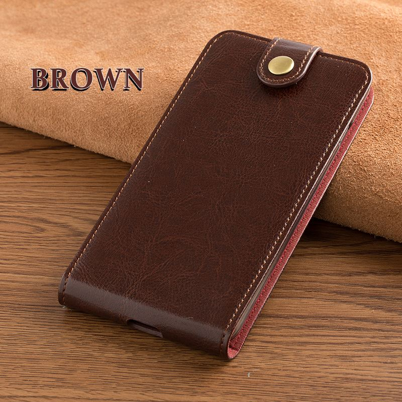 Card slot genuine leather case for iNew <strong>U1</strong> vertical button flip phone accessories cover