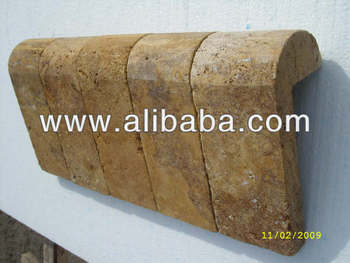 4x9x4 Gold Travertine Remodeling Pool Coping-Tumbled