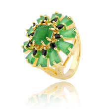 wholesale price round shape cz gemstone brass rings in 18k gold