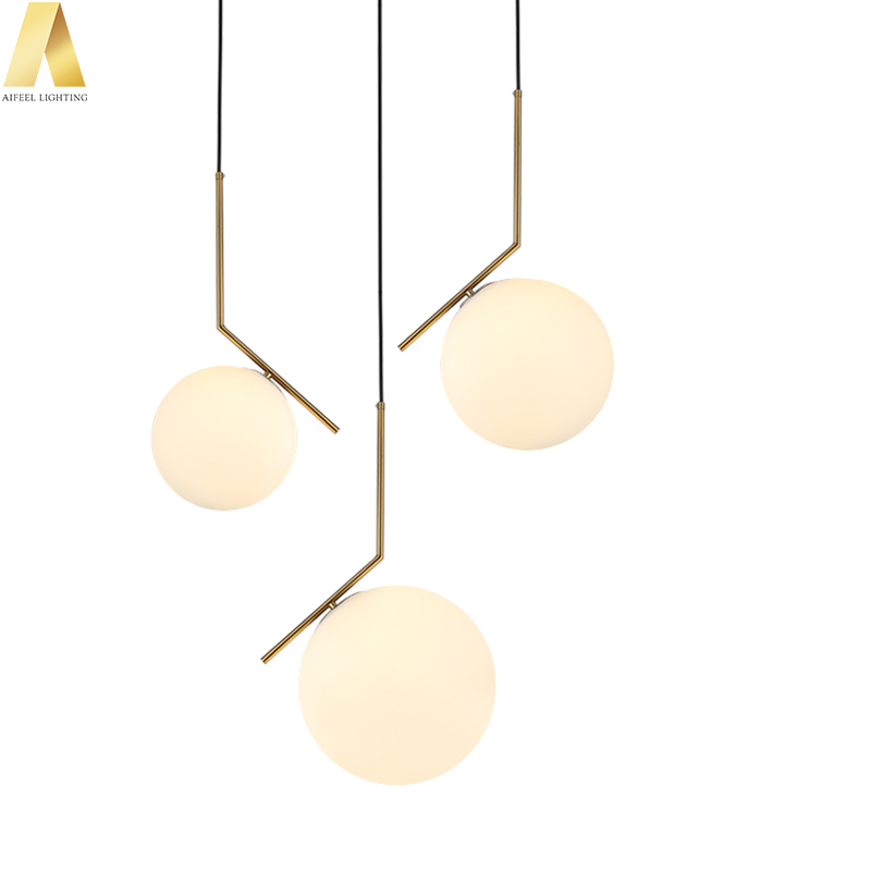 Luxury decorative gold metal round ball glass fancy hanging pendant <strong>lights</strong> for shop or living room
