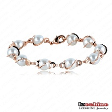 Fashion Design Pearl Bracelet Unique Real 18K Rose Gold Plated Pearl Women Wedding Bracelet Free Shipping ITL-BR0016