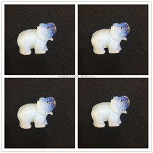 Unique opal carvings cute white indian elephant statues crystal carving animals for collectible