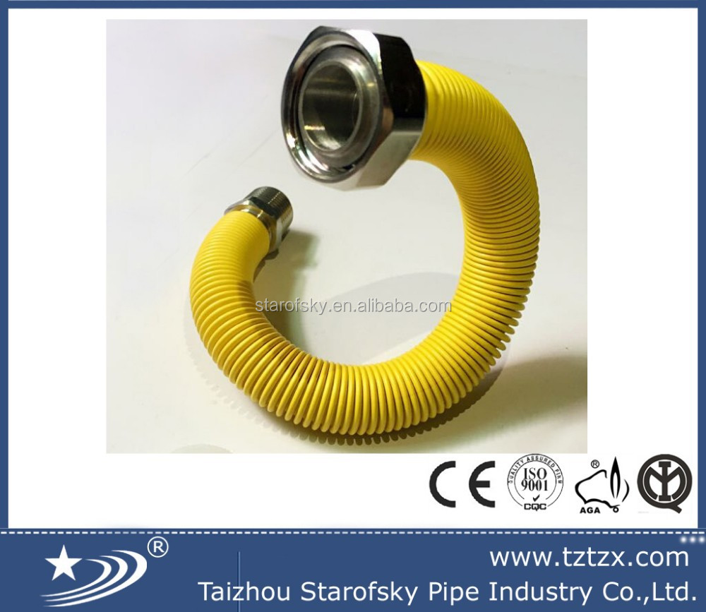 S/S yellow PVC covered flexible pipe hose