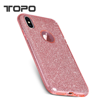 3 In 1 Hybrid PC+TPU Glitter Bling Paper Mobile Cell Phone Back Cover Case For Apple iphone x 6 7 8 plus