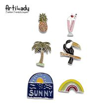 Artilady fashion new spring summer colorful enamel brooch pins set lovely flower insect 6pcs set brooches
