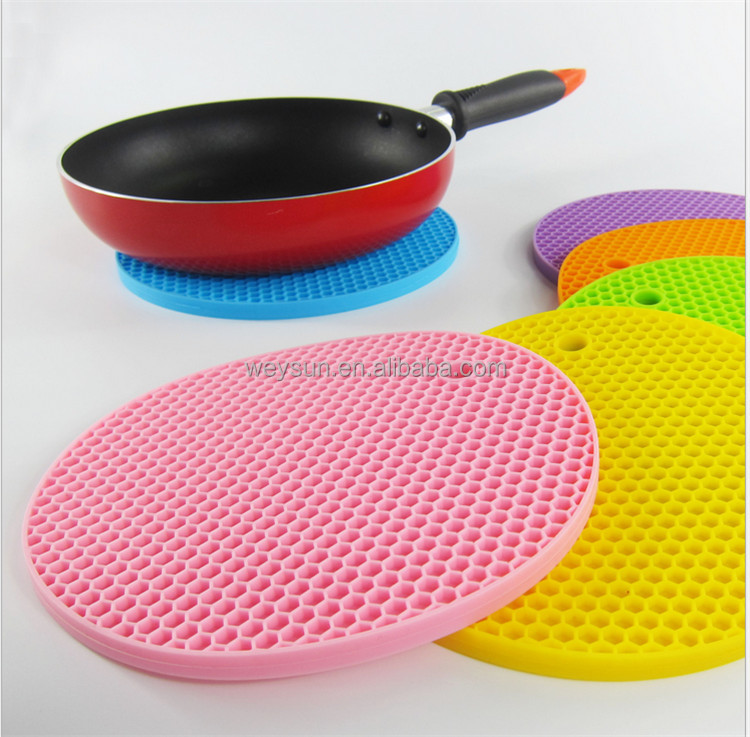 wholesale kitchen silicone round honeycomb shape Cup Mat