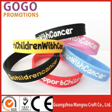 Professional brand new style Rubber Silicone wrist band, manufacture cheap customized glowing silicone hand bands