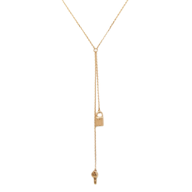 FR1039 The key to the padlock Y clavicle necklace Alloy necklace Golden long necklace
