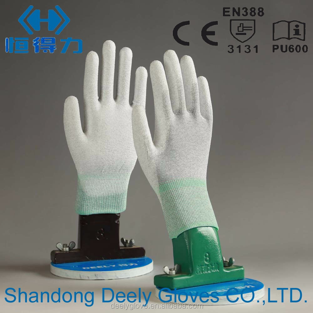 13 gauge polyester/polyamid knitting white PU finger coated safety work gloves anti-static working gloves