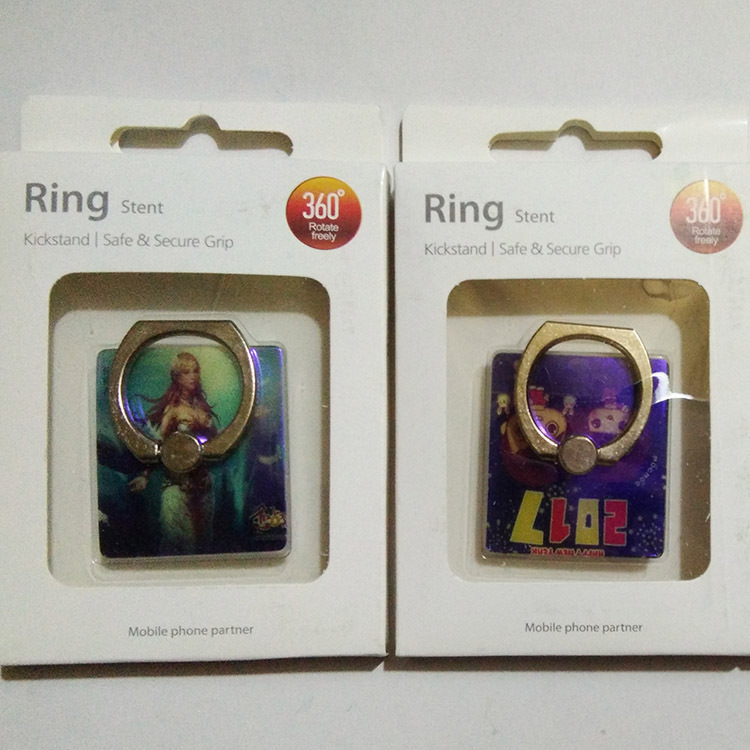 Metal Material 360 degree rotation cellphone finger ring holder Mirror function with Ruby design