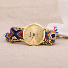 Customized Promotional Gift Woman Hand-Woven Rope Woman Bracelet Weave Wrist Lady Watch
