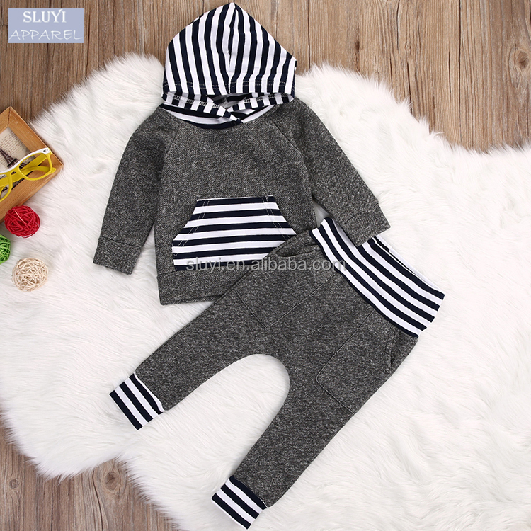 children clothing 2017 boy clothing 2pcs sets cotton Hoodie long sleeve T-shirt Top+Pant stripe pocket fashion baby clothes set