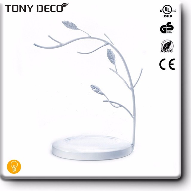 Home Decoration Handmade White Tree Branch Metal Jewelry Holder