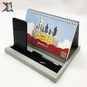 Custom Personalized Spiral Table Desktop Desk 2019 Calendar with Phone and Pen holder
